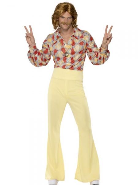 df04af790907 Pánsky kostým zo 60. rokov zahŕňa farebnú košeľu a nohavice do zvonu s  vysokým pásom. Na retro párty budete v tomto kostýme za hviezdu.
